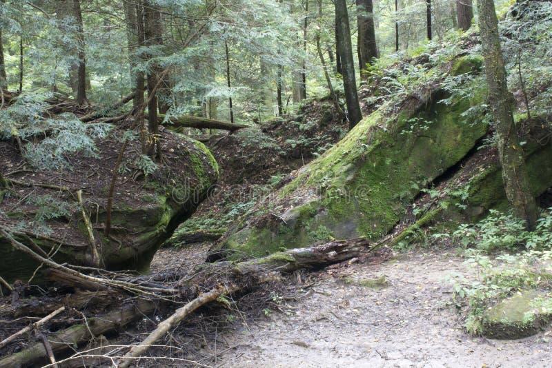 Twee grote rotsen op een sleep royalty-vrije stock foto