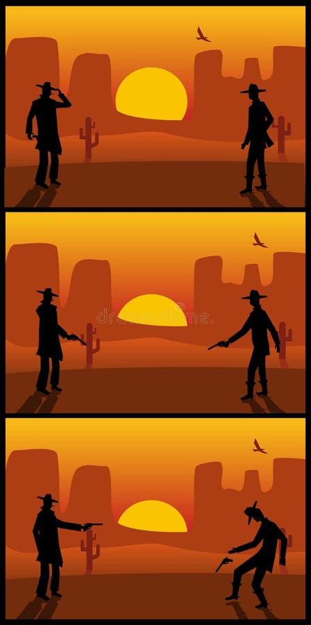 Twee gunslingersduel De zonsondergang van de woestijn EPS 10 stock illustratie