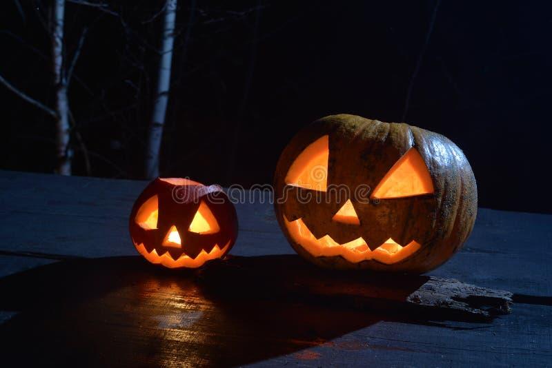 Twee Halloween-pompoenen vijzelen gezichten in het donkere bos op royalty-vrije stock fotografie