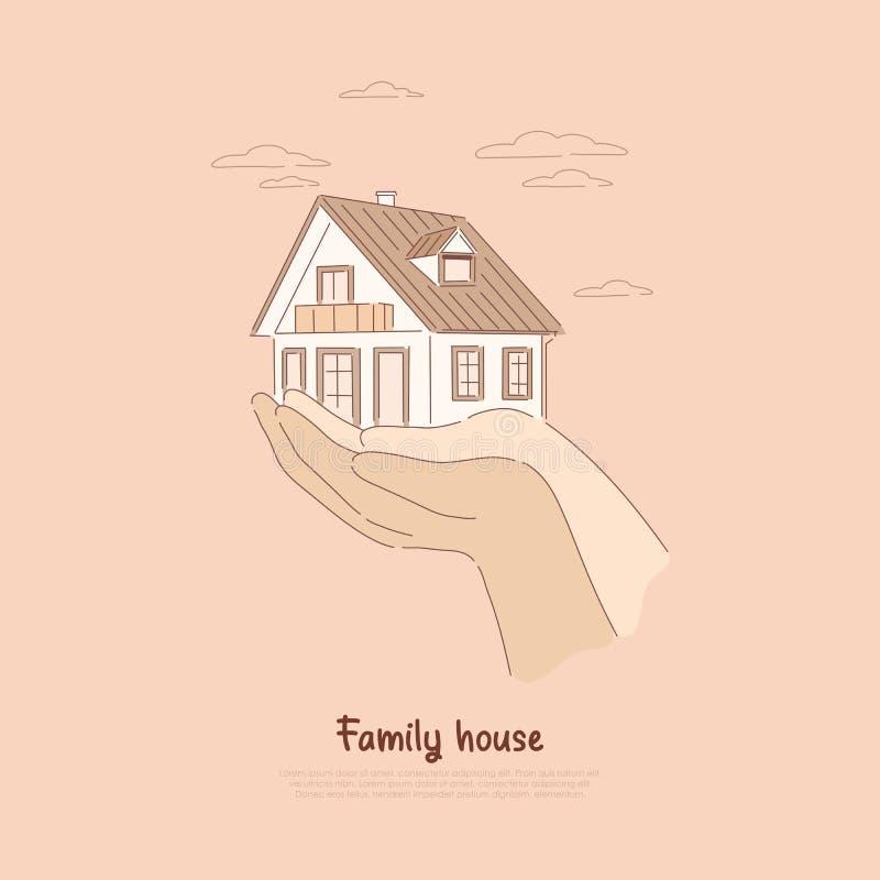 Twee handen die huis houden, die hypotheek, verzekering op onroerende goederen betalen, hurend leefruimte, kopend de banner van h vector illustratie