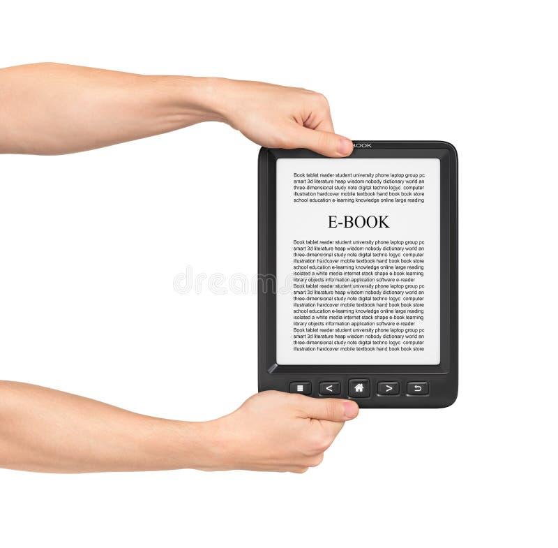 Twee handen die Raad op eBooklezer houden royalty-vrije stock fotografie