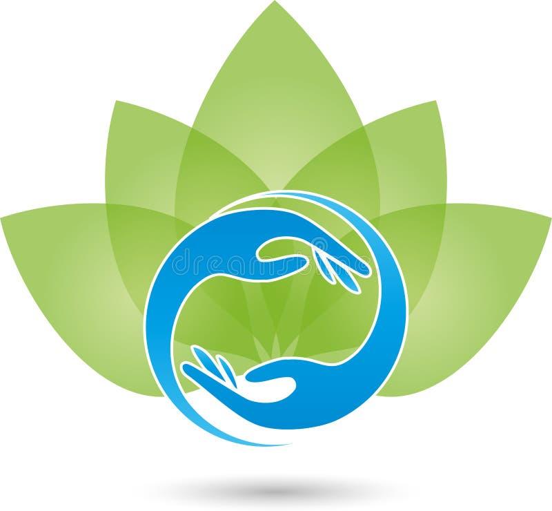 Twee handen en bladeren, naturopath embleem
