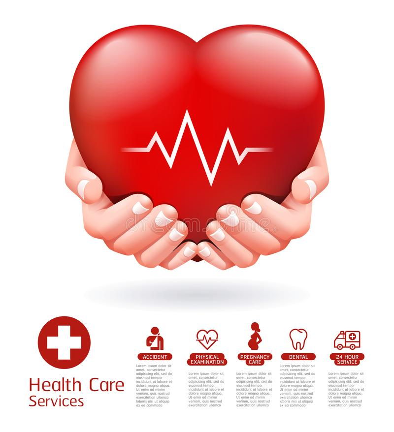 Twee handen en rood hart conceptueel ontwerp De vector van de gezondheidszorgdienst vector illustratie