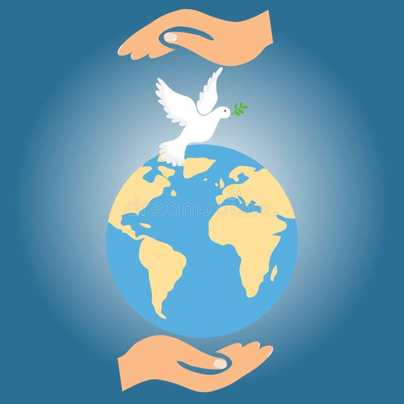 Twee handen houden de Aarde samen met de duif van vrede vector illustratie
