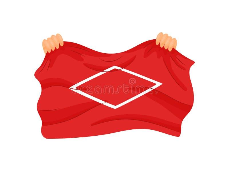 Twee handen houden de rand van een grote rode vlag Vector illustratie op witte achtergrond stock illustratie