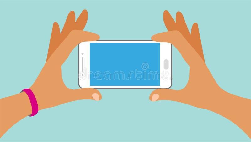 Twee handen houden een smartphone met het leeg scherm stock illustratie