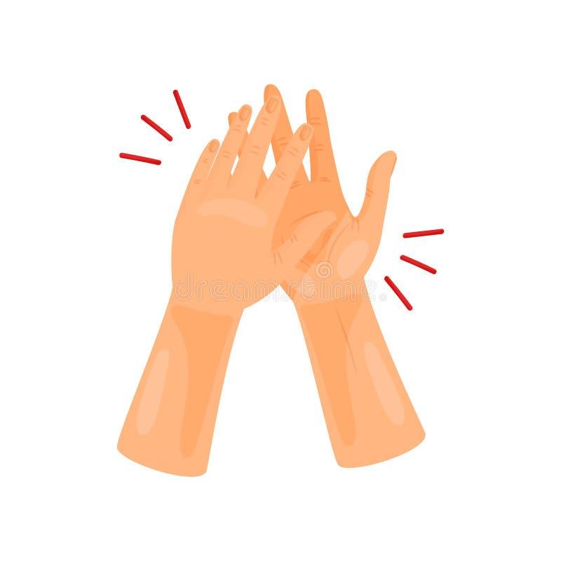Twee handen juichen toe Vector illustratie op witte achtergrond royalty-vrije illustratie