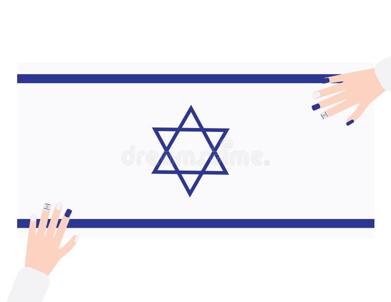 Twee handen met blauw en wit nagellak op de vlagachtergrond van Israël stock illustratie