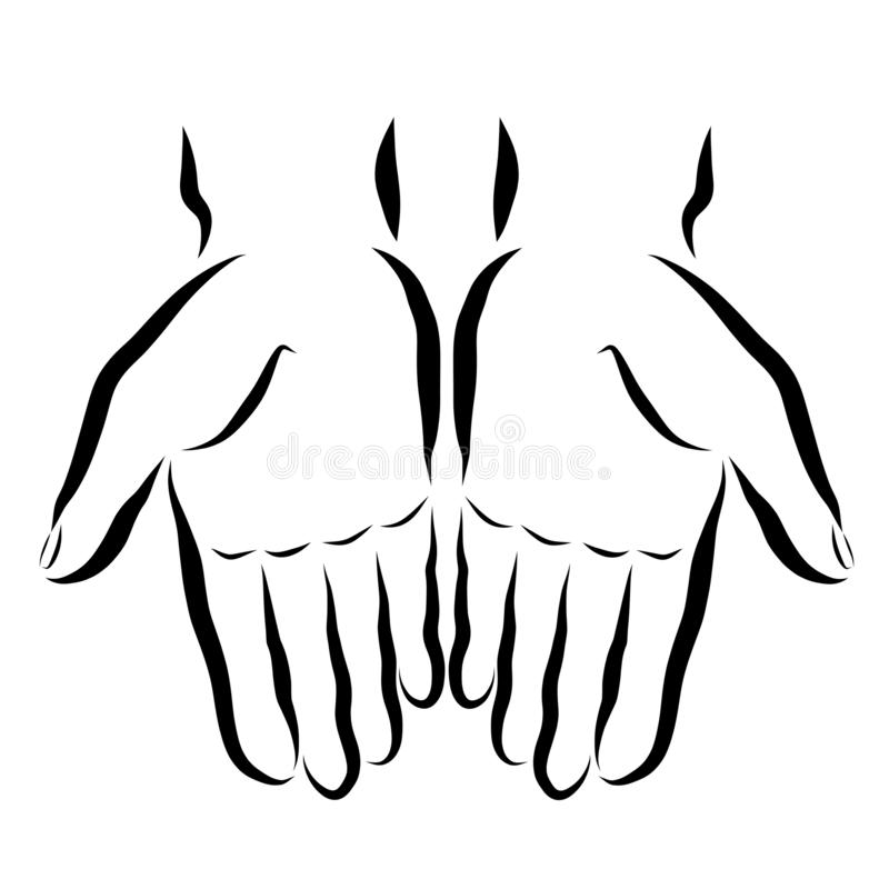 Twee handen met lege palmen, zwart overzicht vector illustratie