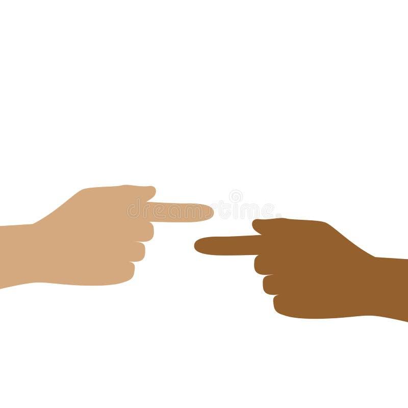 Twee handen met verschillende huidkleur tonen elkaar stock illustratie