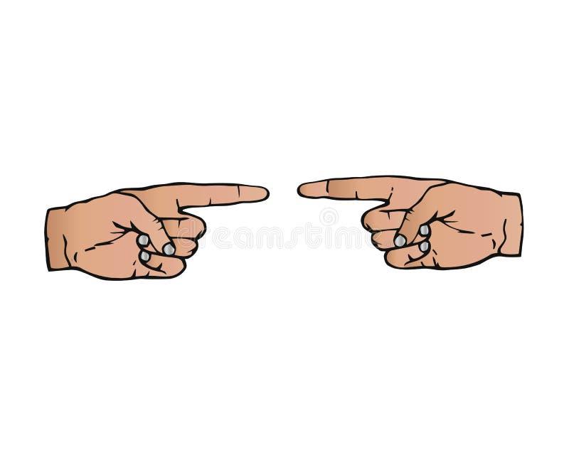 Twee handen met verschillende huidkleur tonen elkaar Vector illustratie royalty-vrije illustratie