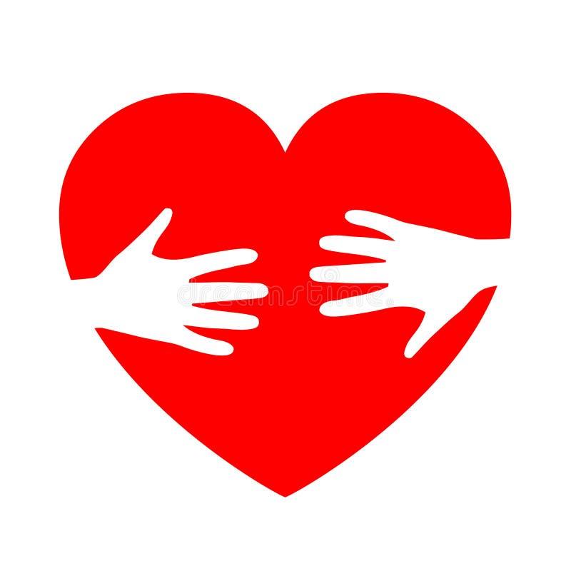 Twee handen op hart, liefdadigheidspictogram, organisatie van vrijwilligers, familiegemeenschap vector illustratie