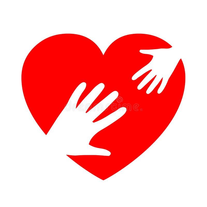 Twee handen op hart, liefdadigheidspictogram, organisatie van vrijwilligers, familiegemeenschap - vector vector illustratie