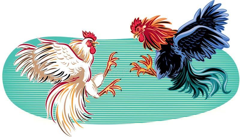 Twee hanen in een strijd royalty-vrije illustratie