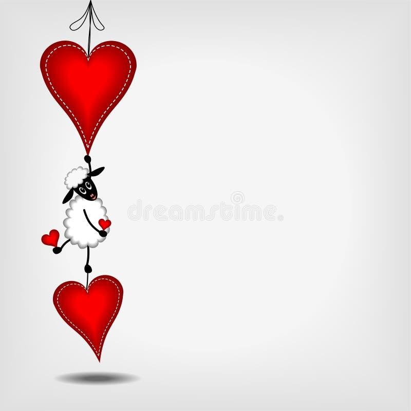 Twee hangende rode harten en leuk lam royalty-vrije illustratie