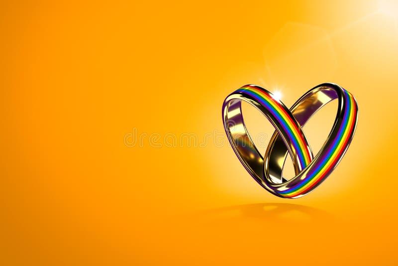 Twee hangende trouwringen met regenboogkleuren op oranje achtergrond Gelijke rechtenbeweging voor vrolijk huwelijken en geslacht royalty-vrije illustratie