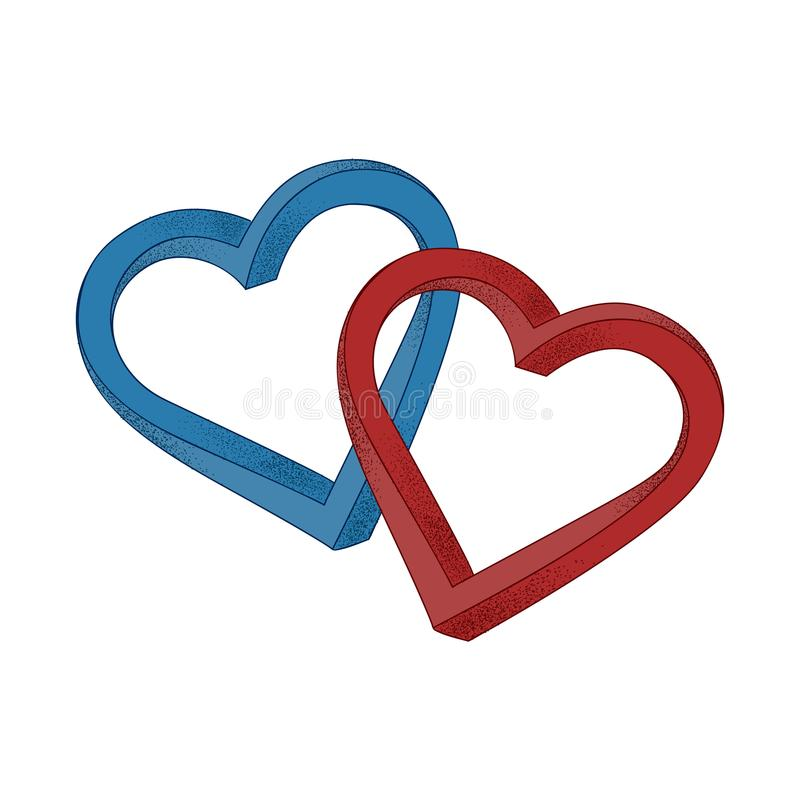 Twee harten: blauw en rood op witte achtergrond Optische illusie o vector illustratie