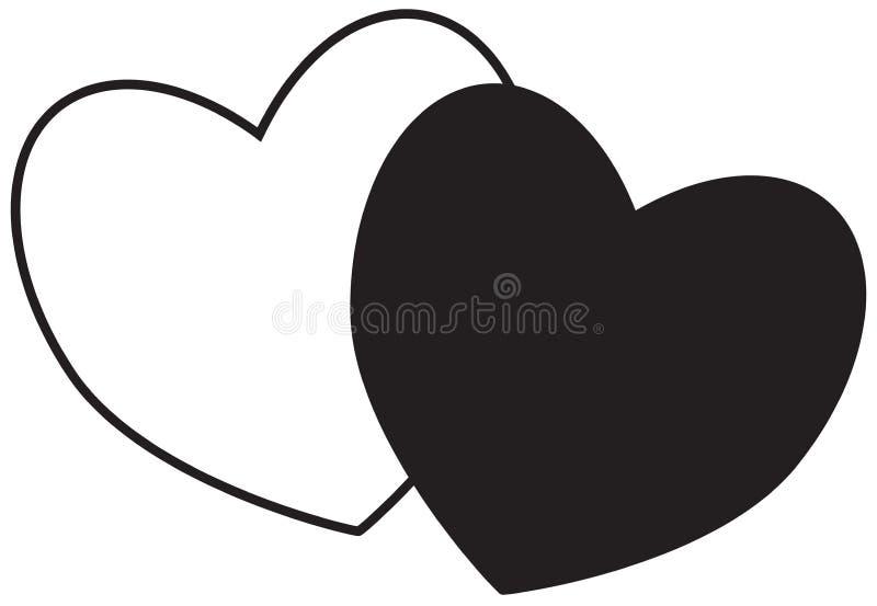 Twee harten Concept voor liefde, hartstocht, valentijnskaart, royalty-vrije illustratie