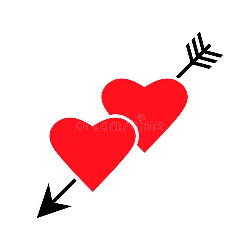 Twee harten die door een pijl worden doordrongen Vlakke vector geïsoleerde illustratie royalty-vrije illustratie