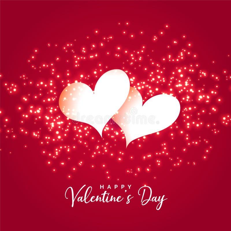 Twee harten met fonkelingenachtergrond voor valentijnskaartendag royalty-vrije illustratie