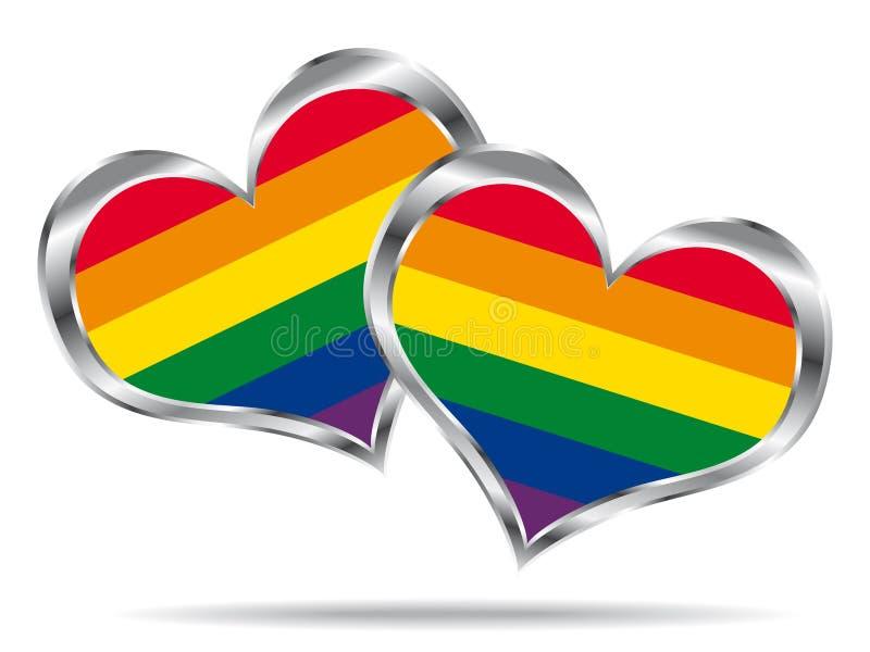Twee harten met lgbtvlag. vector illustratie