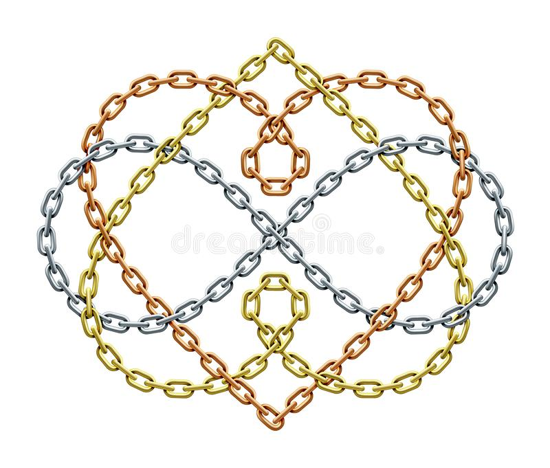 Twee harten met oneindigheidssymbool van verweven kettingen Voor altijd liefdeteken Vector illustratie royalty-vrije illustratie