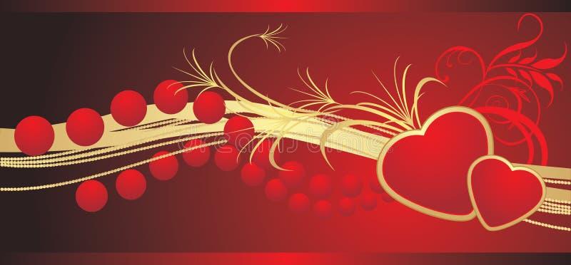 Twee harten met rode parels. Banner royalty-vrije illustratie