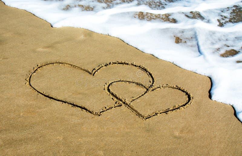 Twee harten op het strand stock foto