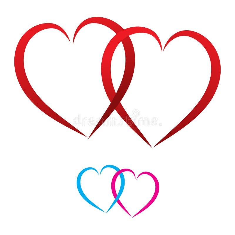Twee harten, verbonden rood, vector royalty-vrije illustratie