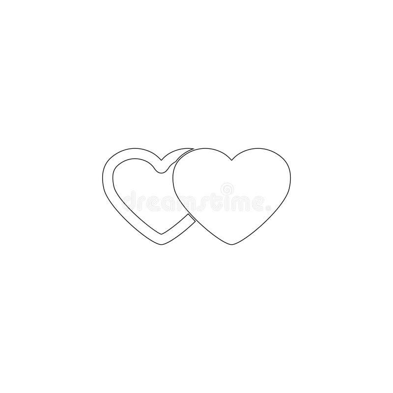 Twee harten Vlak vectorpictogram vector illustratie