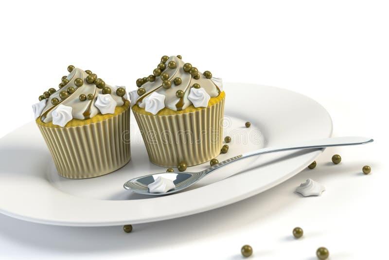 Twee heerlijke cupcakes op een plaat vector illustratie