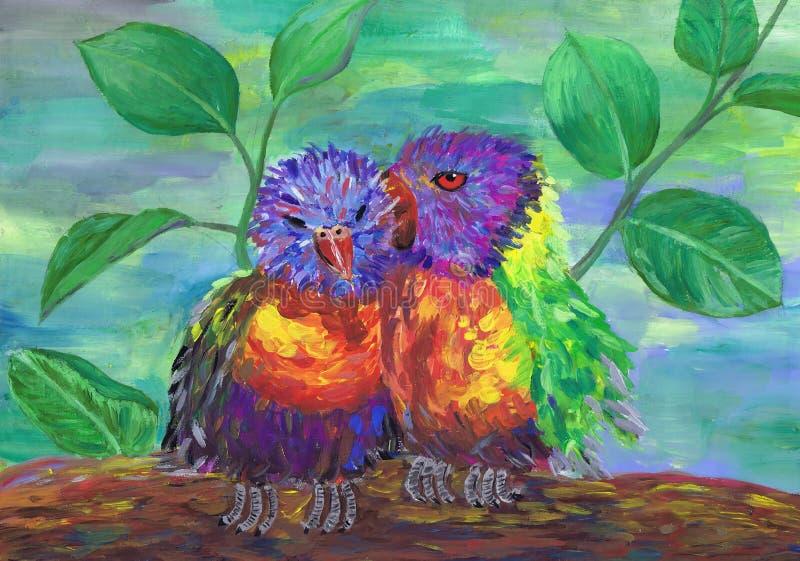 Twee heldere pluizige vogeltjes zitten daarna Kinderen` s tekening stock illustratie