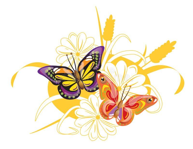 Twee heldere vlinders en bloemen stock afbeeldingen