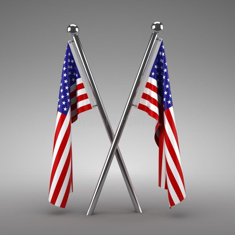 Twee het Amerikaanse vlaggen hangen royalty-vrije illustratie