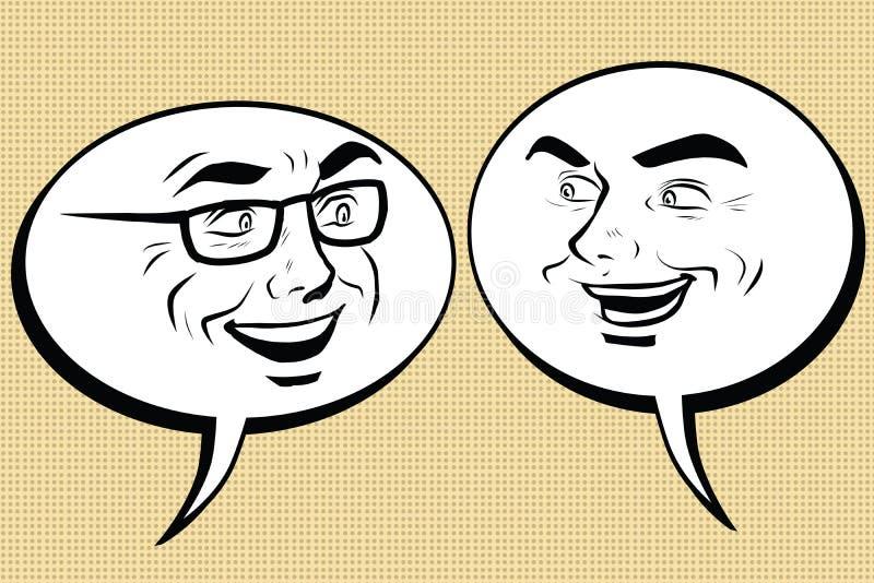 Twee het gelukkige mensen spreken Het grappige gezicht van bellensmiley stock illustratie