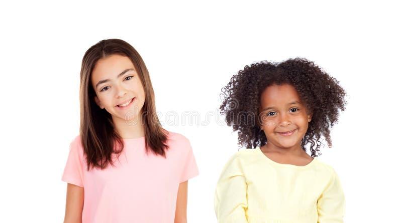 Twee het grappige kinderen lachen royalty-vrije stock afbeelding