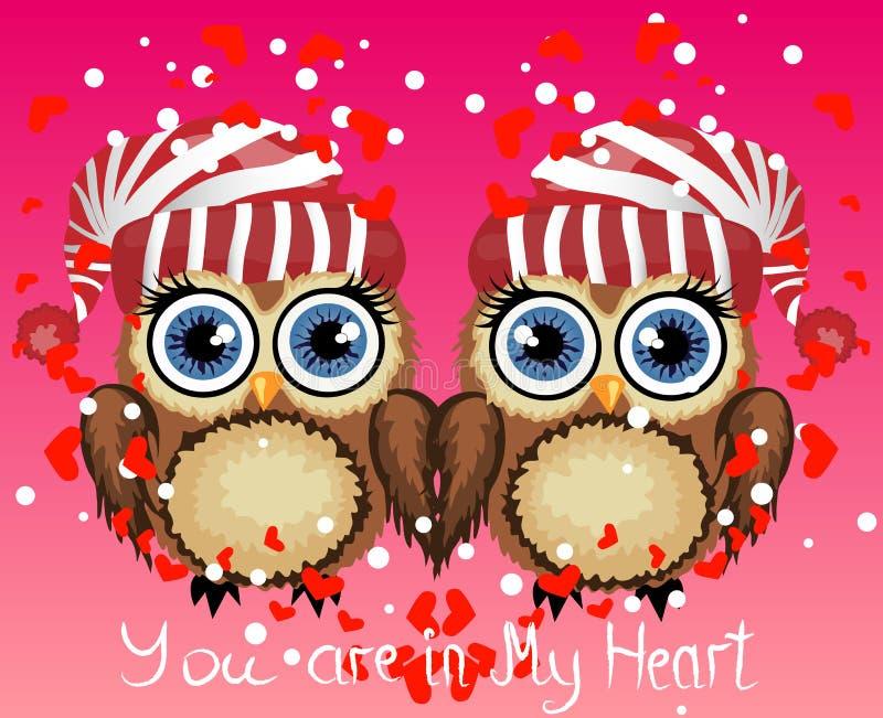 Twee het houden van uilen, een paar, raken hun vleugels, op een purpere achtergrond Concept Twee harten Inschrijving I houdt van  stock illustratie