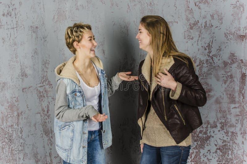 Twee het jonge vrouwenvrienden spreken royalty-vrije stock foto