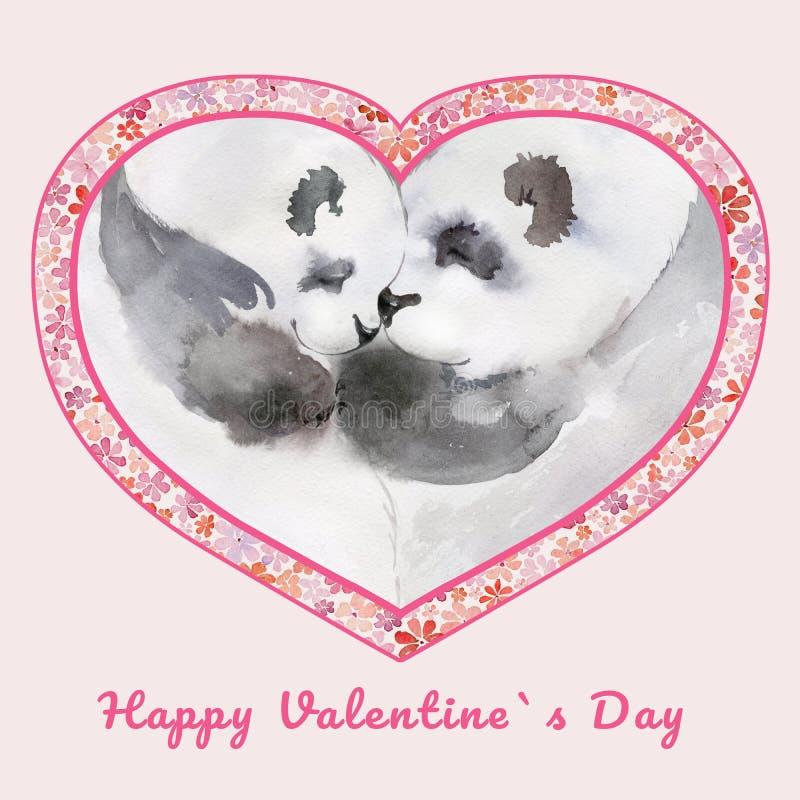 Twee het kussen panda's in hart gestalte gegeven kader met kleine bloemen Dag van teken de Gelukkige Valentine ` s Het Schilderen vector illustratie