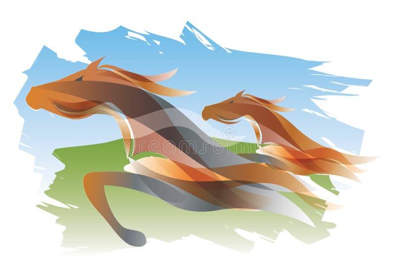 Twee het lopen paarden royalty-vrije illustratie