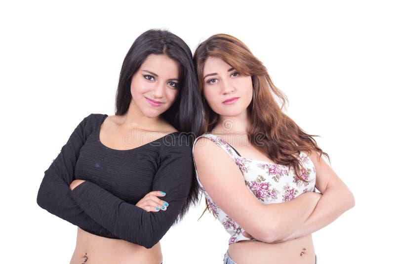 Twee het mooie jonge meisjes stellen royalty-vrije stock afbeelding