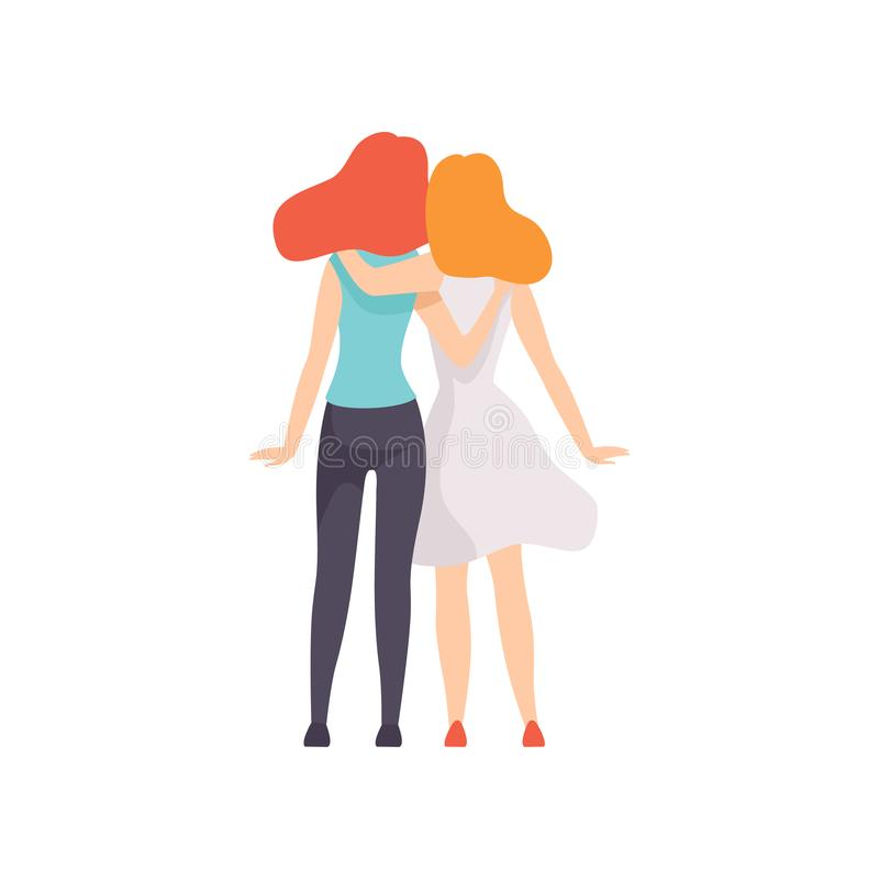 Twee het Mooie Vrouwenvrienden bekijkt Koesteren die, Terug, Vrouwelijke Vriendschaps Vectorillustratie zich verenigen vector illustratie