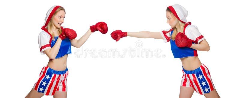 Twee het vrouwelijke boksers vechten geïsoleerd op wit royalty-vrije stock afbeeldingen