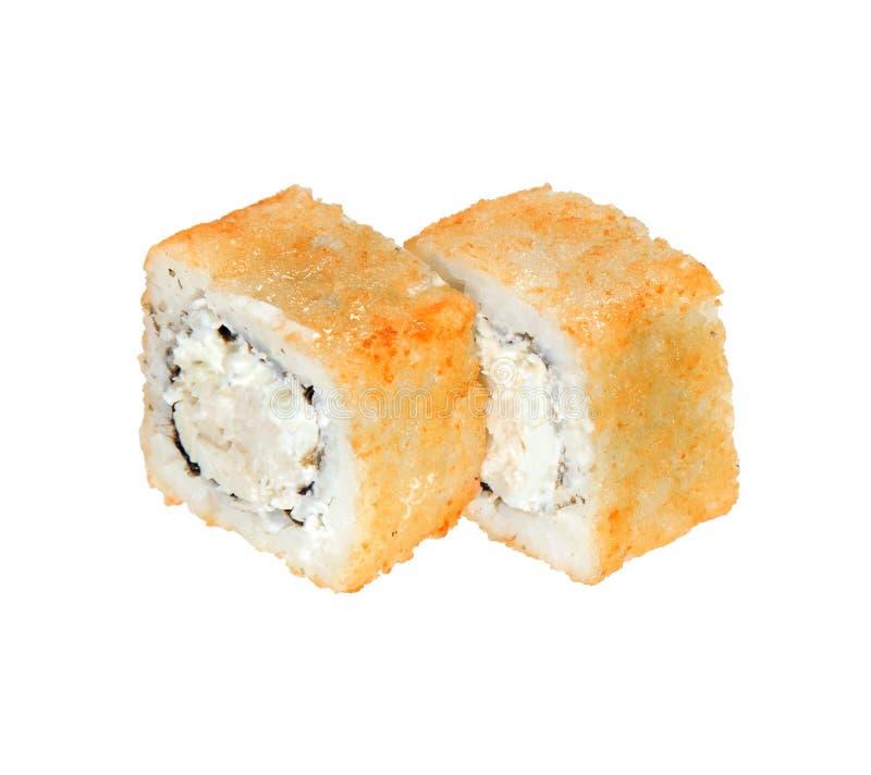 Twee hete gebraden sushibroodjes met kaas en kip Geïsoleerdj op witte achtergrond stock foto's