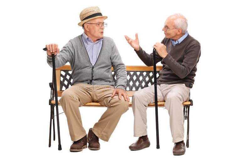 Twee hogere heren die een gesprek hebben stock afbeeldingen