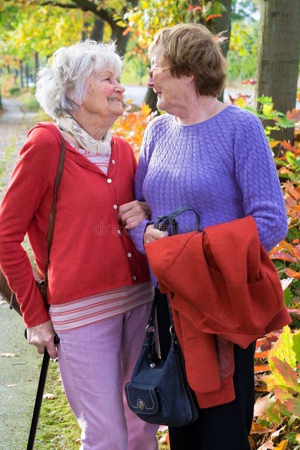 Twee Hogere Vrouwen die aan elkaar glimlachen stock afbeeldingen