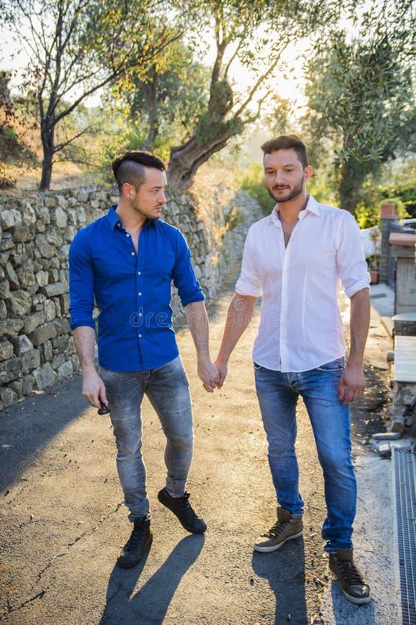 Twee homosexuelen in park hand in hand royalty-vrije stock foto