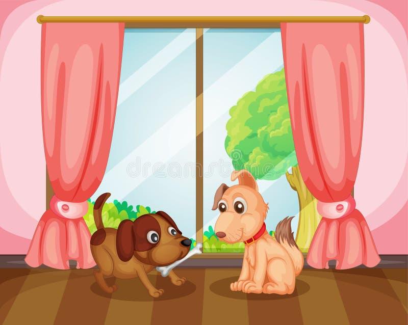 Twee honden vector illustratie