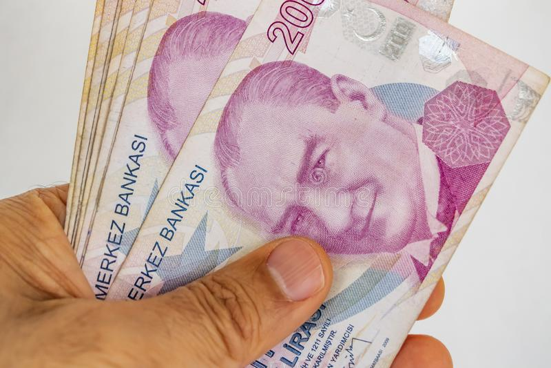Twee honderd Turkse Lirebankbiljetten in omloop royalty-vrije stock fotografie