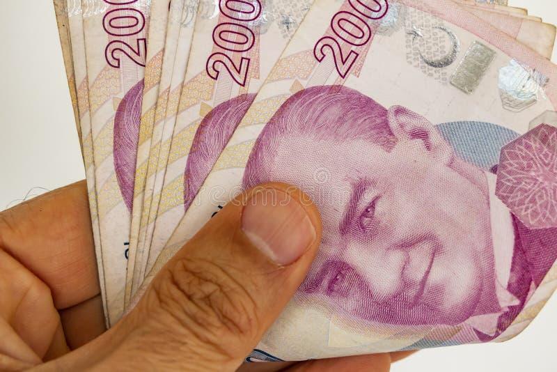 Twee honderd Turkse Lirebankbiljetten in omloop stock afbeeldingen